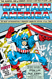 Marvel Comics Retro: Captain America Comic Panel; Smashing through Window; Red, White and Blue Reproduction d'art