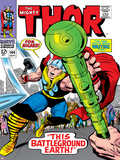 Marvel Comics Retro: The Mighty Thor Comic Book Cover No144  Charging  Swinging Hammer