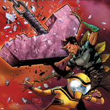 Avengers Academy No17 Cover: Hazmat and Reptil Running and Lifting