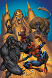 Marvel Adventures Spider-Man No20 Cover: Sandman  Red Ghost and Spider-Man Fighting a Gorilla