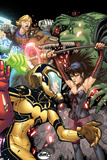 Avengers Academy No28 Cover: Hazmat  Nico Minoru  Old Lace  and Chase Stein