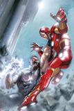 Avengers Annual No1 Cover: Iron Man and Wonder Man Fighting