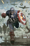 Captain America No615 Cover: Captain America Running with his Shield