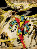 Marvel Comics Retro: X-Men Comic Panel  Colossus  Storm  Charging and Flying (aged)