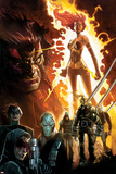 Age of Apocalypse No1 Cover: Phoenix Standing and Flaming  with Wolverine and Others