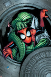 Marvel Adventures Spider-Man No11 Cover: Spider-Man and Lizard Fighting