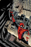 Marvel Adventures Spider-Man No5 Cover: Spider-Man Swinging from a Tall Building
