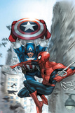 Avenging Spider-Man No5 Cover: Spider-Man and Captain America