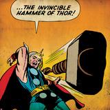 Marvel Comics Retro: Mighty Thor Comic Panel  Throwing Hammer (aged)