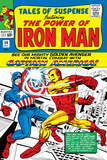 Marvel Comics Retro: The Invincible Iron Man Comic Book Cover No58  Facing Captain America
