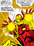 Marvel Comics Retro: The Invincible Iron Man Comic Panel  Fighting and Shooting