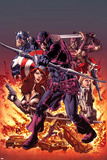 Hawkeye: Blind Spot No1 Cover: Hawkeye Shooting his Bow and Aroow in front of Flames