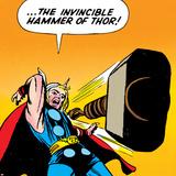 Marvel Comics Retro: Mighty Thor Comic Panel  Throwing Hammer
