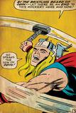 Marvel Comics Retro: Mighty Thor Comic Panel  Swinging Hammer (aged)