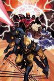 Origins of Marvel Comics: X-Men No1 Cover: Wolverine  Storm  Cyclops  and Magneto Running