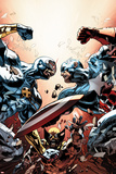 New Avengers No24 Cover: Cyclops  Captain America  and Wolverine Fighting