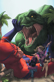 Avengers Academy No25 Cover: Giant Man  Mettle  and Hazmat Fighting and Escaping a Dinosaur
