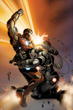 Invincible Iron Man No513 Cover: Iron Man and War Machine Fighting