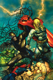 Chaos War No5 Cover: Chaos King and Thor Fighting