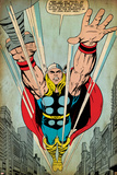 Marvel Comics Retro: Mighty Thor Comic Panel  Flying (aged)