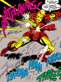 Marvel Comics Retro: The Invincible Iron Man Comic Panel  Fighting and Deflecting