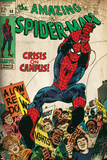 Marvel Comics Retro: The Amazing Spider-Man Comic Book Cover No.68, Crisis on Campus (aged) Reproduction d'art
