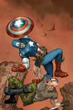 Ultimate Captain America No3 Cover: Captain America and Frank Simpson Fighting and Falling