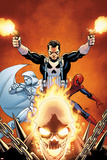 Shadowland No3 Cover: Ghost Rider  Moon Knight  Spider-Man  and Punisher Posing