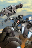 Iron Man 20 No8 Cover: War Machine Fighting and Flying