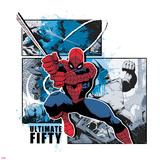 Spider-Man Badge: Battle Against Rhino Panels and Blue Splatters  Spider-Man Swinging