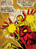 Marvel Comics Retro: The Invincible Iron Man Comic Panel  Fighting and Shooting (aged)
