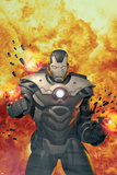 Iron Man 20 No7 Cover: War Machine Standing and Flaming
