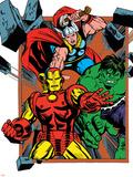 Marvel Comics Retro Badge Featuring Thor  Hulk  Iron Man