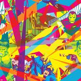 Marvel Comics Retro Pattern Design Featuring Vision  Iron Man  Hulk  Thor  Captain America