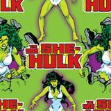 Marvel Comics Retro Pattern Design Featuring She-Hulk