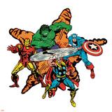 Marvel Comics Retro Badge Featuring Hulk  Iron Man  Captain America  Thor