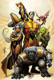 Astonishing X-Men No38 Cover: Storm  Beast  Colossus  Kitty Pryde  Lockheed  & Agent Abigail Brand