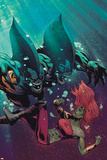 Fear Itself: The Deep No3 Cover: Tigershark and Lyra Fighting Under Water