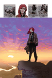 Black Widow No5: Black Widow Standing on a Cliff in front of a Sunset