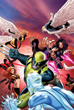 Uncanny X-Men No533 Cover: Wolverine  Psylocke  and Angel Fighting and Flying