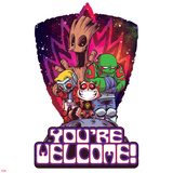 Guardians of the Galaxy Badge Art Featuring: Groot  Star-Lord  Rocket Raccoon  Drax