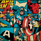 Marvel Comics Retro Badge Featuring Captain America Reproduction d'art