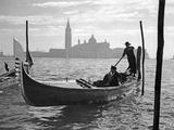 Gondolier in Front of San Giorgio Maggiore in Venice  1939