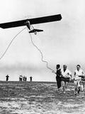 Pilot's License Applicants Start a Hang Glider  1930