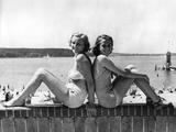 Two Young Women Posing at the Wannsee  1939