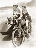 Women Drive a Motorcycle with a Sidecar  1930