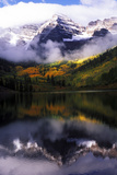 Maroon Bells with Fog and Autumn Aspens Reflected in Maroon Lake