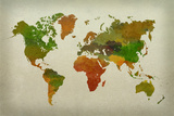 World Map Watercolor (Warm)