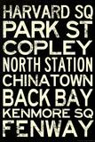 Boston MBTA Stations Vintage Subway Retro Metro Travel