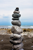 Balancing Rocks on Beach Photo Poster Print
